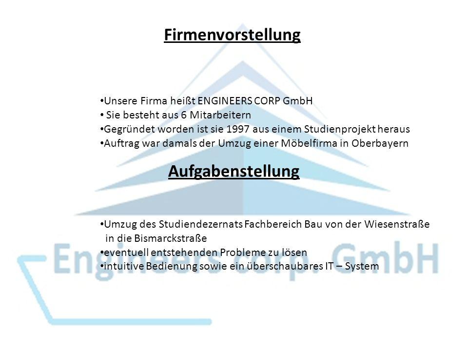 Firmenvorstellung Unsere Firma heißt ENGINEERS CORP GmbH Sie besteht aus 6 Mitarbeitern Gegründet worden ist sie 1997 aus einem Studienprojekt heraus Auftrag war damals der Umzug einer Möbelfirma in Oberbayern Aufgabenstellung Umzug des Studiendezernats Fachbereich Bau von der Wiesenstraße in die Bismarckstraße eventuell entstehenden Probleme zu lösen intuitive Bedienung sowie ein überschaubares IT – System