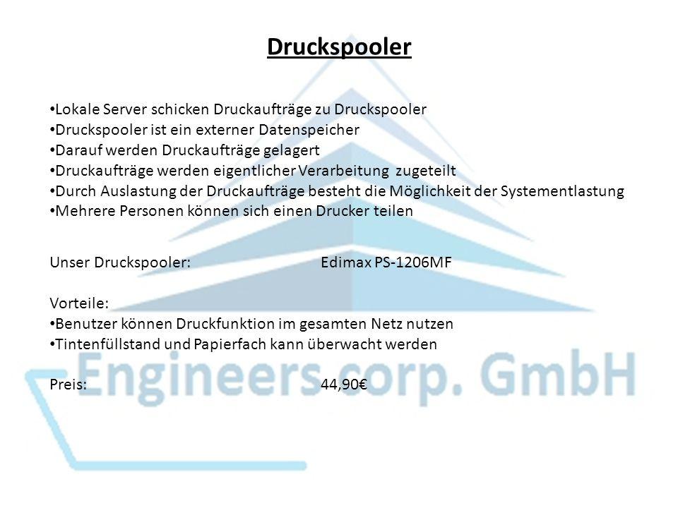 Druckspooler Lokale Server schicken Druckaufträge zu Druckspooler Druckspooler ist ein externer Datenspeicher Darauf werden Druckaufträge gelagert Dru