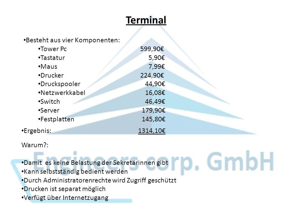 Terminal Besteht aus vier Komponenten: Tower Pc599,90 Tastatur 5,90 Maus 7,99 Drucker224,90 Druckspooler 44,90 Netzwerkkabel 16,08 Switch 46,49 Server