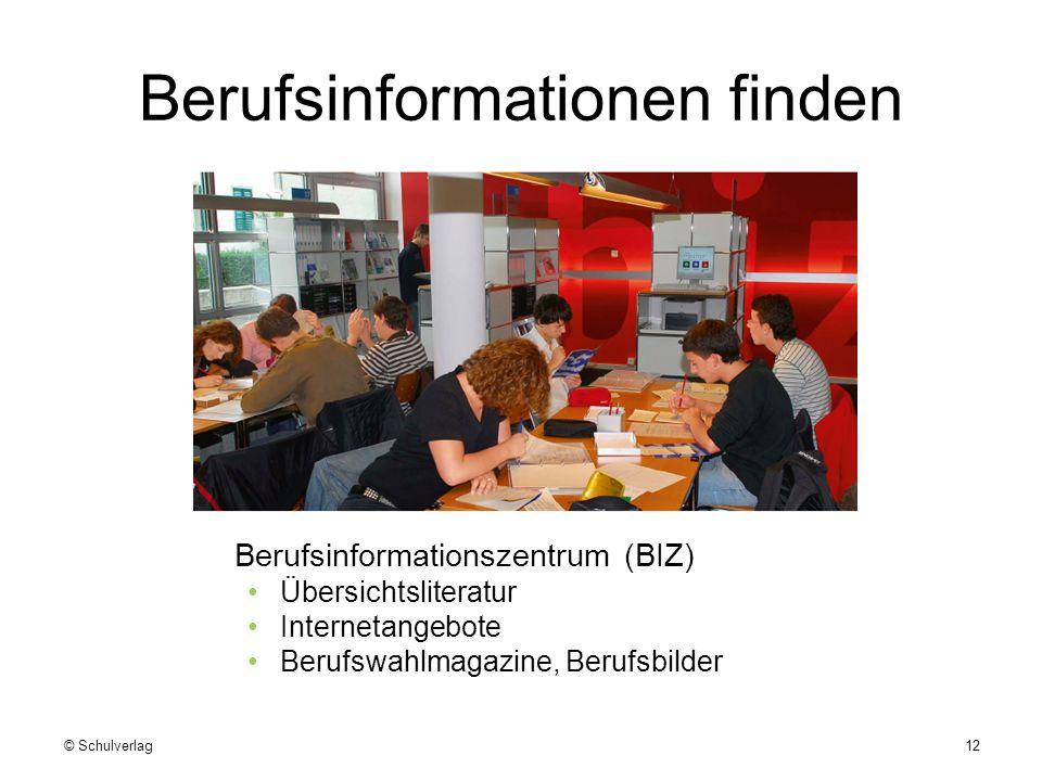 Berufsinformationen finden Berufsinformationszentrum (BIZ) Übersichtsliteratur Internetangebote Berufswahlmagazine, Berufsbilder © Schulverlag12