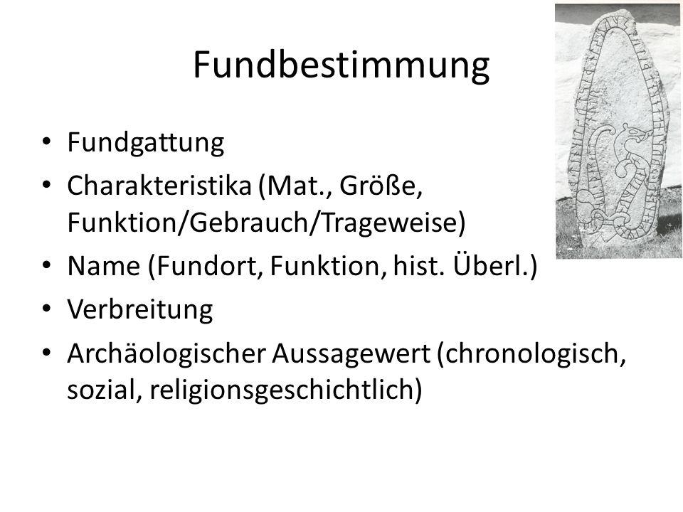 Fundbestimmung Fundgattung Charakteristika (Mat., Größe, Funktion/Gebrauch/Trageweise) Name (Fundort, Funktion, hist. Überl.) Verbreitung Archäologisc