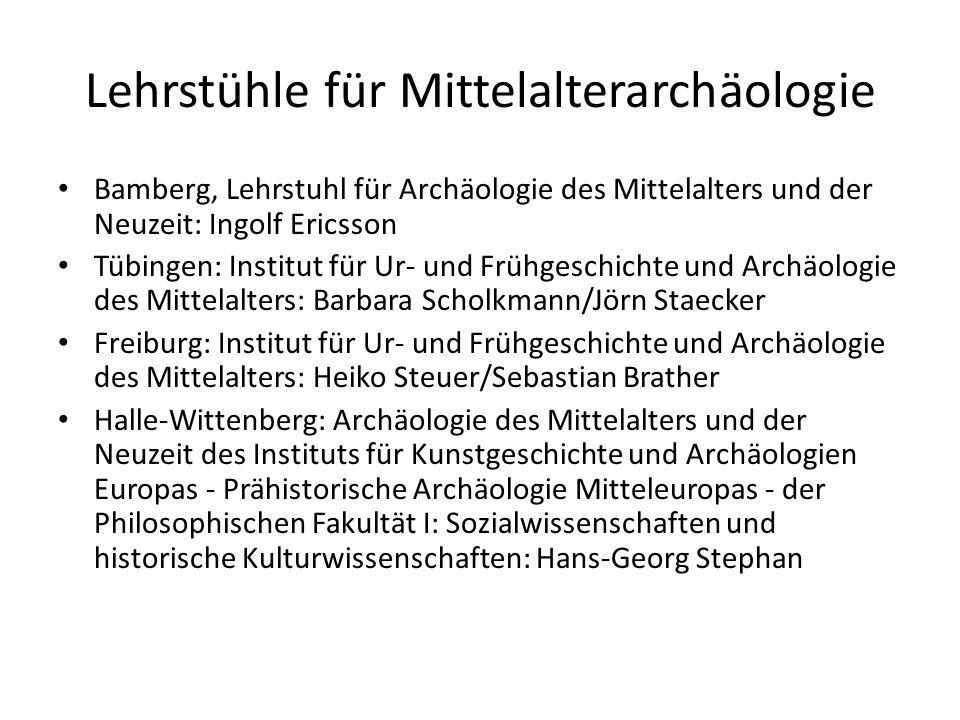 Lehrstühle für Mittelalterarchäologie Bamberg, Lehrstuhl für Archäologie des Mittelalters und der Neuzeit: Ingolf Ericsson Tübingen: Institut für Ur-