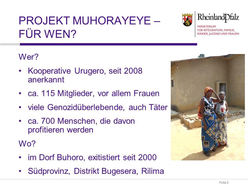 Folie 3 PROJEKT MUHORAYEYE – FÜR WEN. Wer. Kooperative Urugero, seit 2008 anerkannt ca.
