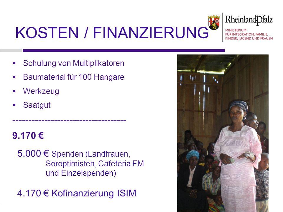 Folie 8 Schulung von Multiplikatoren Baumaterial für 100 Hangare Werkzeug Saatgut ------------------------------------ 9.170 KOSTEN / FINANZIERUNG 5.000 Spenden (Landfrauen, Soroptimisten, Cafeteria FM und Einzelspenden) 4.170 Kofinanzierung ISIM