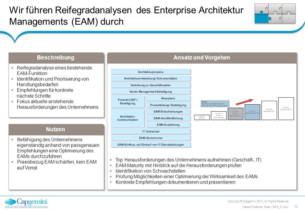 Beschreibung Nutzen Ansatz und Vorgehen Wir führen Reifegradanalysen des Enterprise Architektur Managements (EAM) durch Befähigung des Unternehmens ei