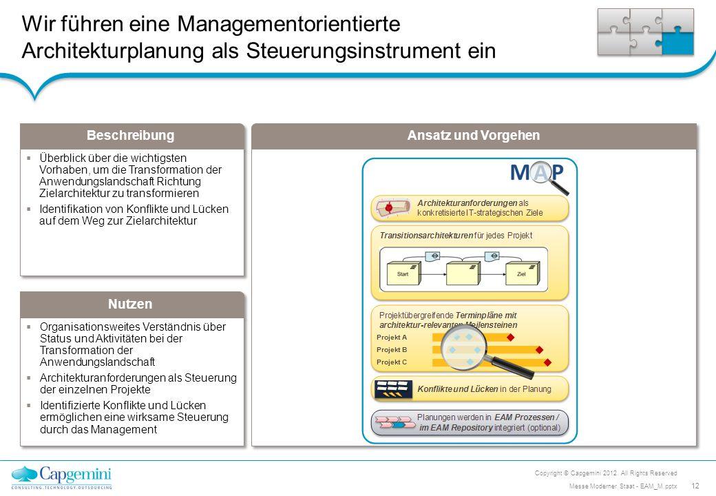 Beschreibung Nutzen Ansatz und Vorgehen Wir führen eine Managementorientierte Architekturplanung als Steuerungsinstrument ein Organisationsweites Vers