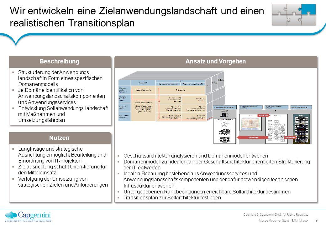 Beschreibung Nutzen Ansatz und Vorgehen Wir führen Reifegradanalysen des Enterprise Architektur Managements (EAM) durch Befähigung des Unternehmens eigenständig anhand von passgenauen Empfehlungen eine Optimierung des EAMs durchzuführen Praxisbezug EAM schärfen, kein EAM auf Vorrat Befähigung des Unternehmens eigenständig anhand von passgenauen Empfehlungen eine Optimierung des EAMs durchzuführen Praxisbezug EAM schärfen, kein EAM auf Vorrat Reifegradanalyse eines bestehende EAM-Funktion Identifikation und Priorisierung von Handlungsbedarfen Empfehlungen für konkrete nächste Schritte Fokus aktuelle anstehende Herausforderungen des Unternehmens Reifegradanalyse eines bestehende EAM-Funktion Identifikation und Priorisierung von Handlungsbedarfen Empfehlungen für konkrete nächste Schritte Fokus aktuelle anstehende Herausforderungen des Unternehmens Top Herausforderungen des Unternehmens aufnehmen (Geschäft-, IT) EAM-Maturity mit Hinblick auf die Herausforderungen prüfen Identifikation von Schwachstellen Prüfung Möglichkeiten einer Optimierung der Wirksamkeit des EAMs Konkrete Empfehlungen dokumentieren und präsentieren Copyright © Capgemini 2012.