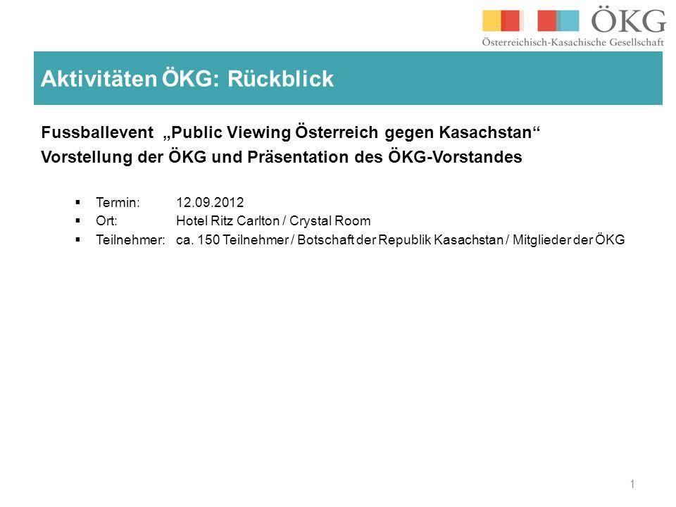 Fussballevent Public Viewing Österreich gegen Kasachstan Vorstellung der ÖKG und Präsentation des ÖKG-Vorstandes Termin: 12.09.2012 Ort: Hotel Ritz Carlton / Crystal Room Teilnehmer: ca.