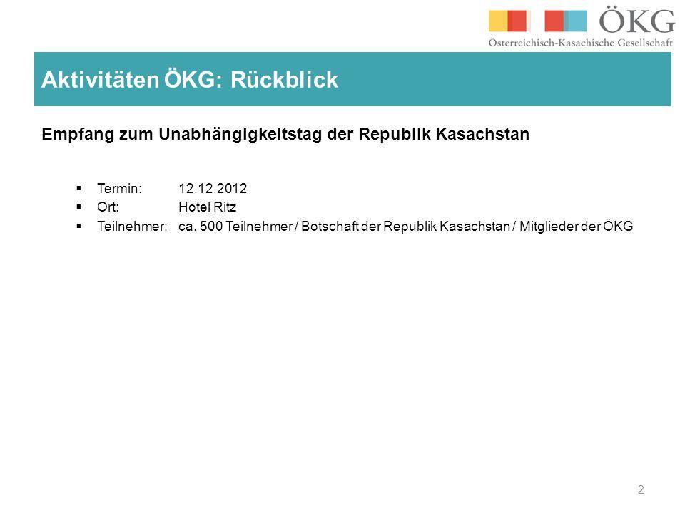 Empfang zum Unabhängigkeitstag der Republik Kasachstan Termin: 12.12.2012 Ort: Hotel Ritz Teilnehmer: ca.