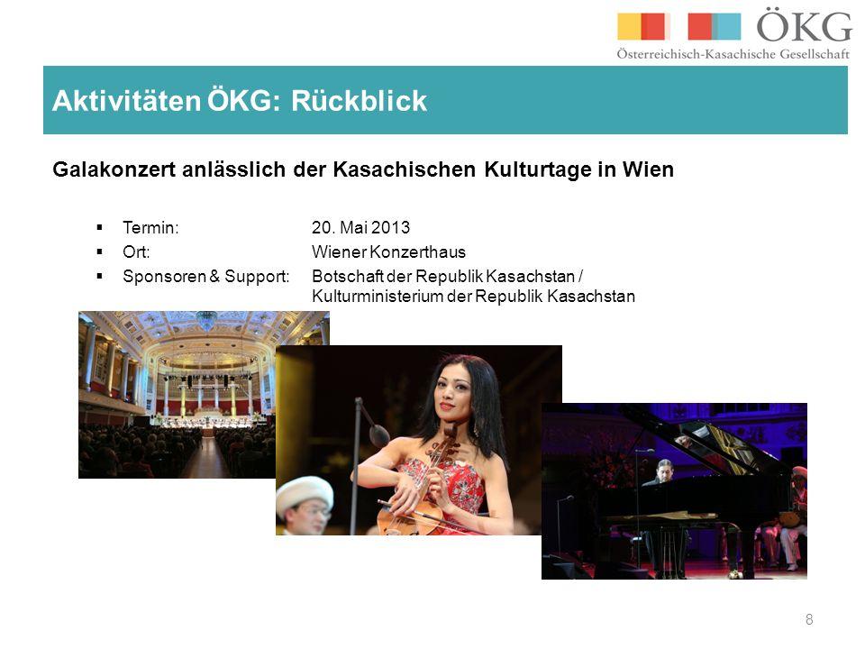 Galakonzert anlässlich der Kasachischen Kulturtage in Wien Termin: 20. Mai 2013 Ort: Wiener Konzerthaus Sponsoren & Support: Botschaft der Republik Ka