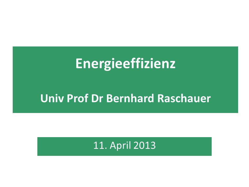 Energieeffizienz Univ Prof Dr Bernhard Raschauer 11. April 2013