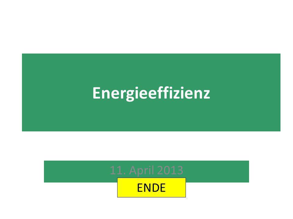 Energieeffizienz 11. April 2013 ENDE
