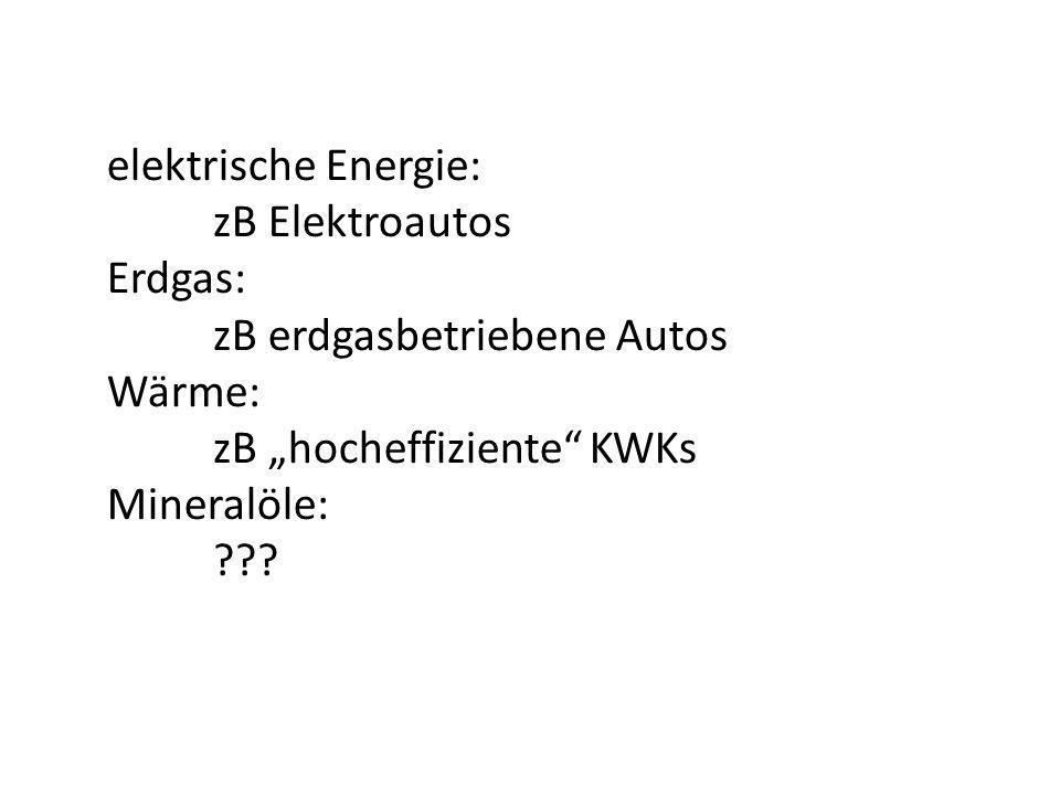 elektrische Energie: zB Elektroautos Erdgas: zB erdgasbetriebene Autos Wärme: zB hocheffiziente KWKs Mineralöle: