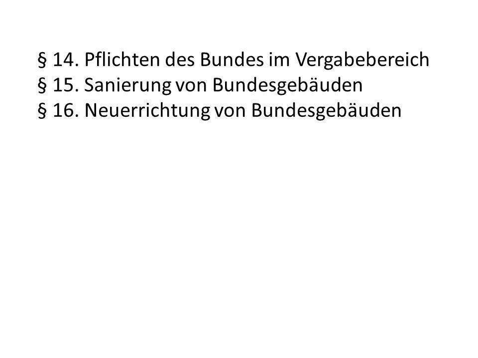 § 14. Pflichten des Bundes im Vergabebereich § 15.