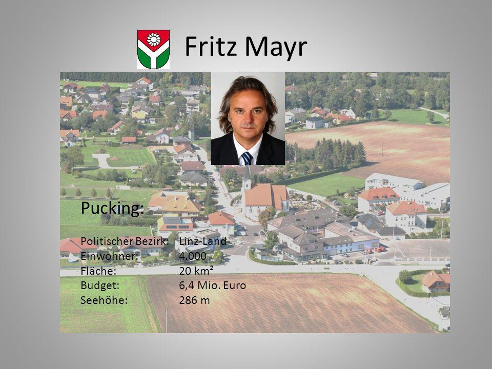 Fritz Mayr Pucking: Politischer Bezirk:Linz-Land Einwohner:4.000 Fläche:20 km² Budget:6,4 Mio. Euro Seehöhe:286 m