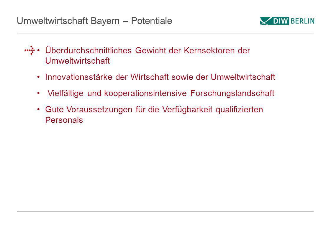 Umweltwirtschaft Bayern – Potentiale Überdurchschnittliches Gewicht der Kernsektoren der Umweltwirtschaft Innovationsstärke der Wirtschaft sowie der U