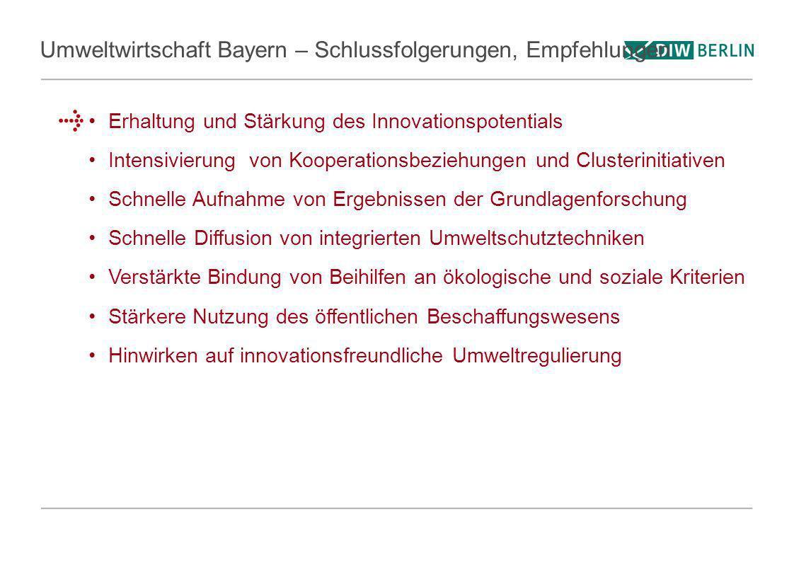Umweltwirtschaft Bayern – Schlussfolgerungen, Empfehlungen Erhaltung und Stärkung des Innovationspotentials Intensivierung von Kooperationsbeziehungen