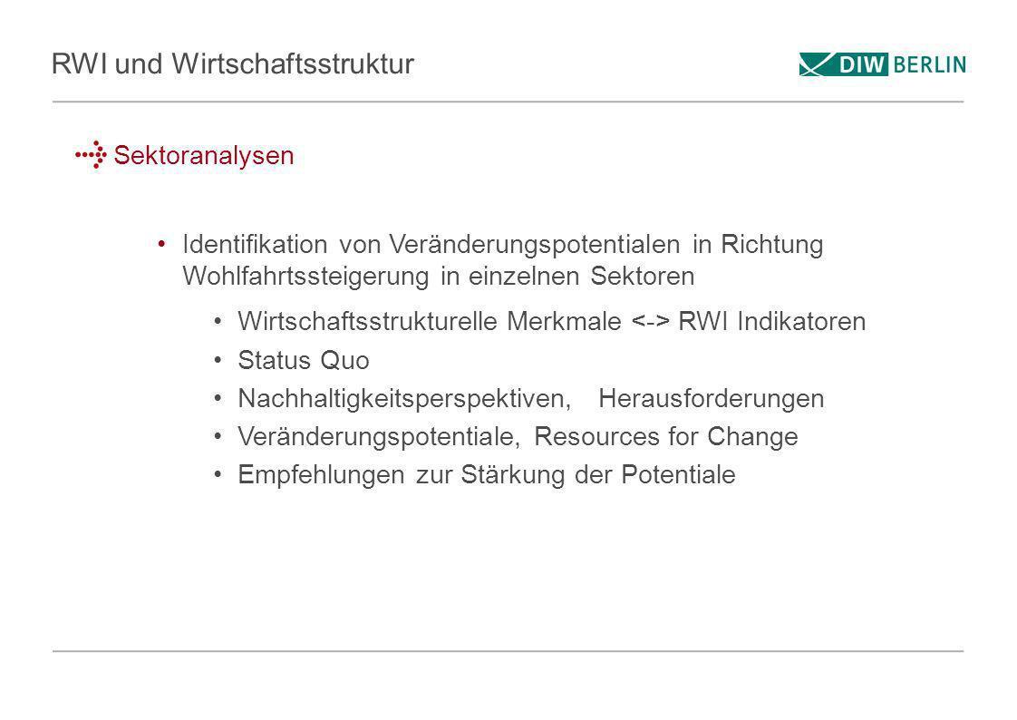 RWI und Wirtschaftsstruktur Sektoranalysen Identifikation von Veränderungspotentialen in Richtung Wohlfahrtssteigerung in einzelnen Sektoren Wirtschaf