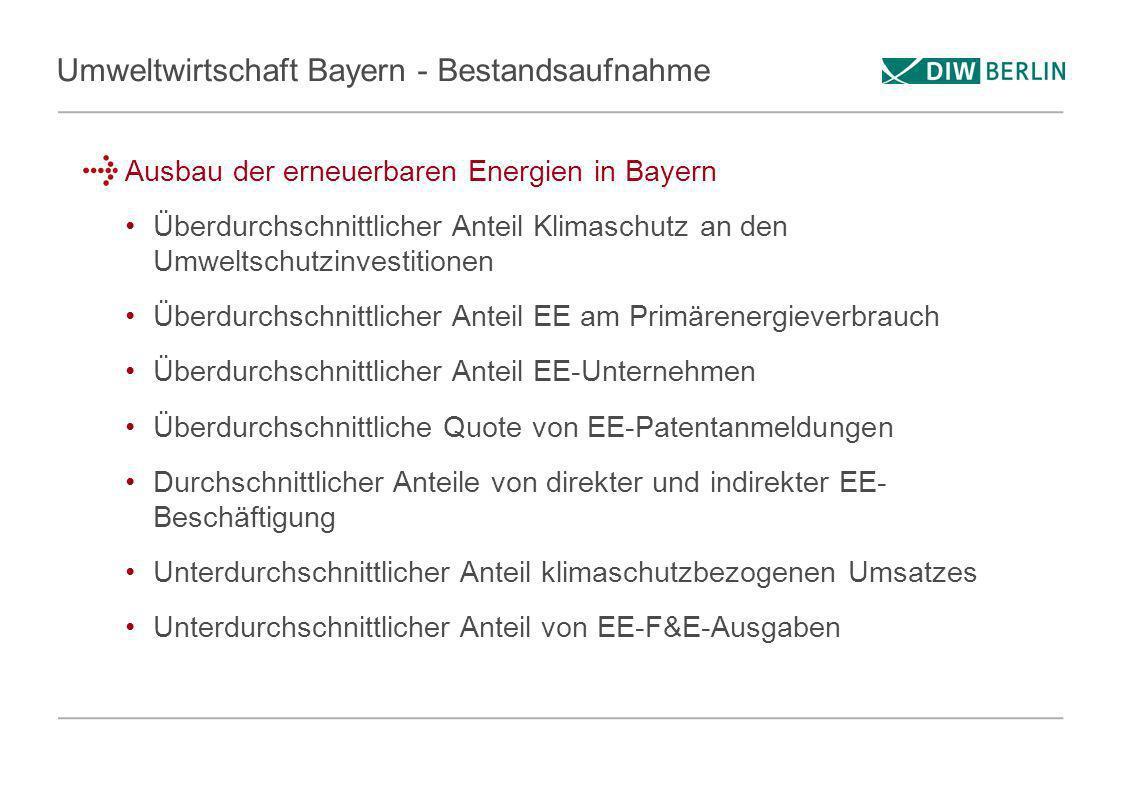 Umweltwirtschaft Bayern - Bestandsaufnahme Ausbau der erneuerbaren Energien in Bayern Überdurchschnittlicher Anteil Klimaschutz an den Umweltschutzinv