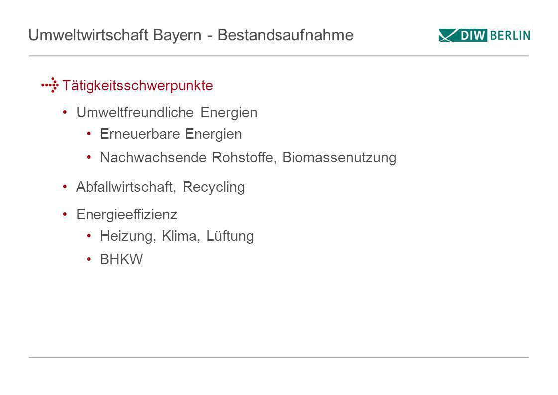 Umweltwirtschaft Bayern - Bestandsaufnahme Tätigkeitsschwerpunkte Umweltfreundliche Energien Erneuerbare Energien Nachwachsende Rohstoffe, Biomassenut