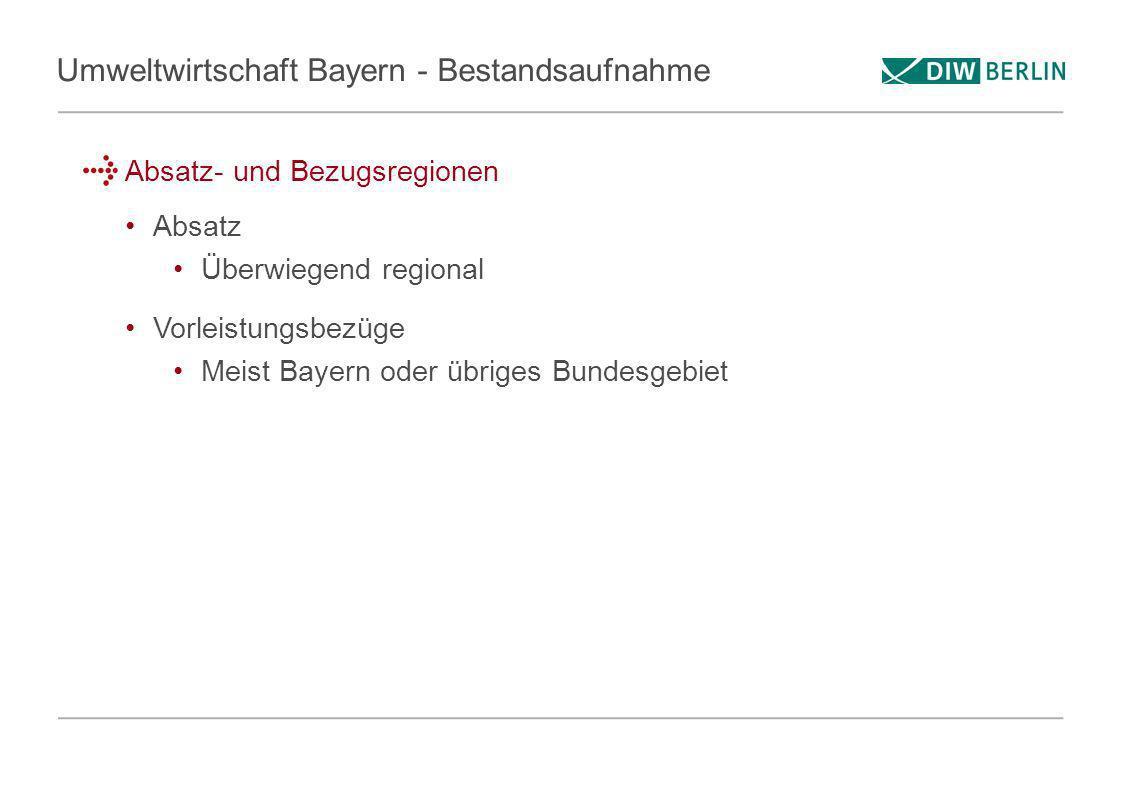 Umweltwirtschaft Bayern - Bestandsaufnahme Absatz- und Bezugsregionen Absatz Überwiegend regional Vorleistungsbezüge Meist Bayern oder übriges Bundesg