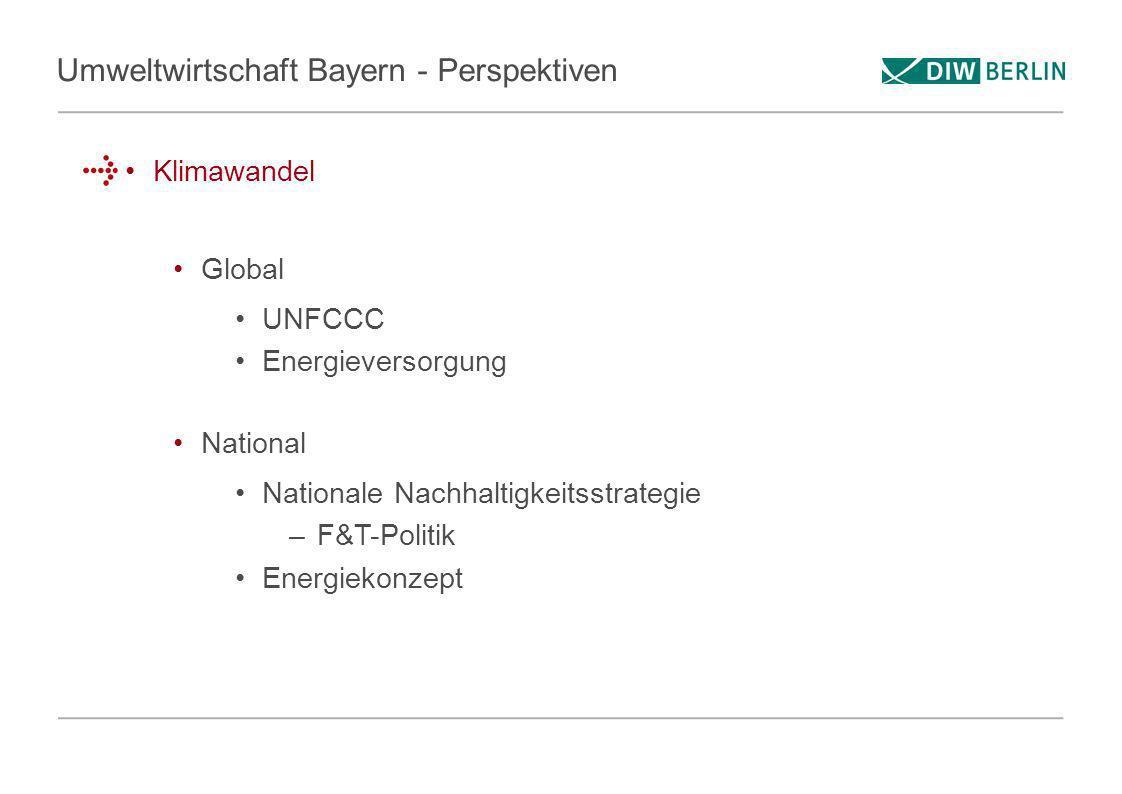 Umweltwirtschaft Bayern - Perspektiven Klimawandel Global UNFCCC Energieversorgung National Nationale Nachhaltigkeitsstrategie –F&T-Politik Energiekon