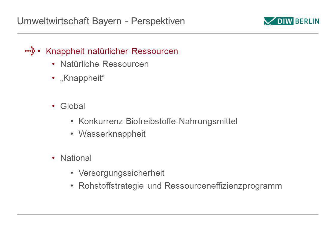 Umweltwirtschaft Bayern - Perspektiven Knappheit natürlicher Ressourcen Natürliche Ressourcen Knappheit Global Konkurrenz Biotreibstoffe-Nahrungsmitte