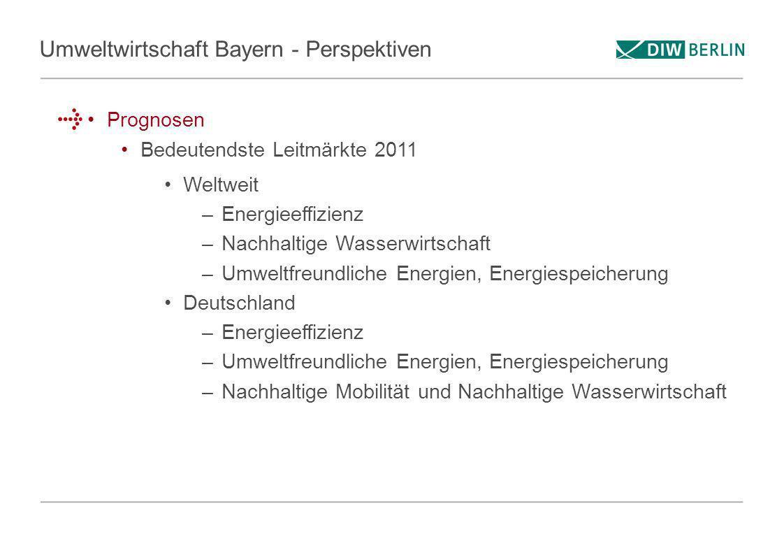 Umweltwirtschaft Bayern - Perspektiven Prognosen Bedeutendste Leitmärkte 2011 Weltweit –Energieeffizienz –Nachhaltige Wasserwirtschaft –Umweltfreundli