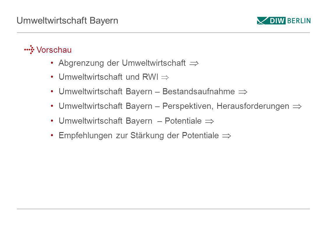 Umweltwirtschaft Bayern Vorschau Abgrenzung der Umweltwirtschaft Umweltwirtschaft und RWI Umweltwirtschaft Bayern – Bestandsaufnahme Umweltwirtschaft
