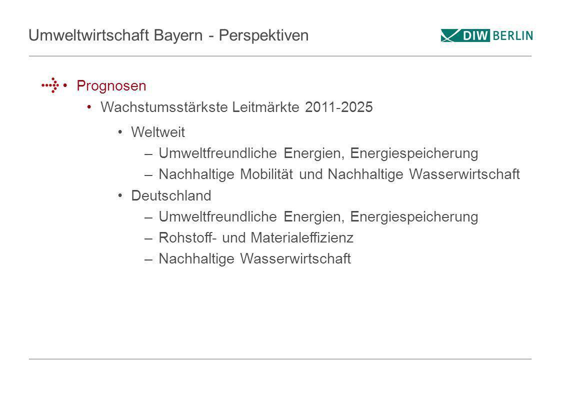 Umweltwirtschaft Bayern - Perspektiven Prognosen Wachstumsstärkste Leitmärkte 2011-2025 Weltweit –Umweltfreundliche Energien, Energiespeicherung –Nach