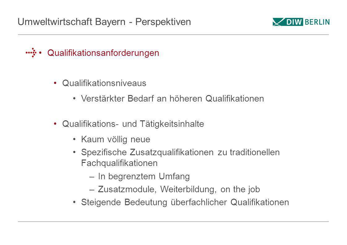 Umweltwirtschaft Bayern - Perspektiven Qualifikationsanforderungen Qualifikationsniveaus Verstärkter Bedarf an höheren Qualifikationen Qualifikations-