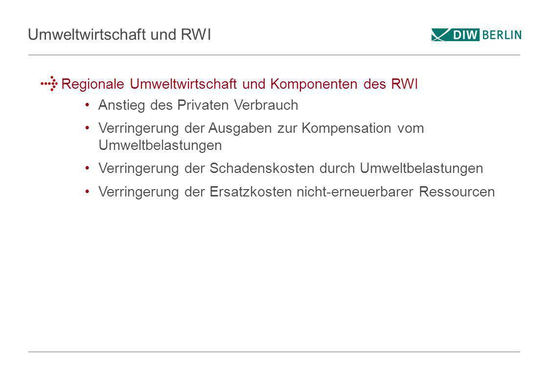 Umweltwirtschaft und RWI Regionale Umweltwirtschaft und Komponenten des RWI Anstieg des Privaten Verbrauch Verringerung der Ausgaben zur Kompensation