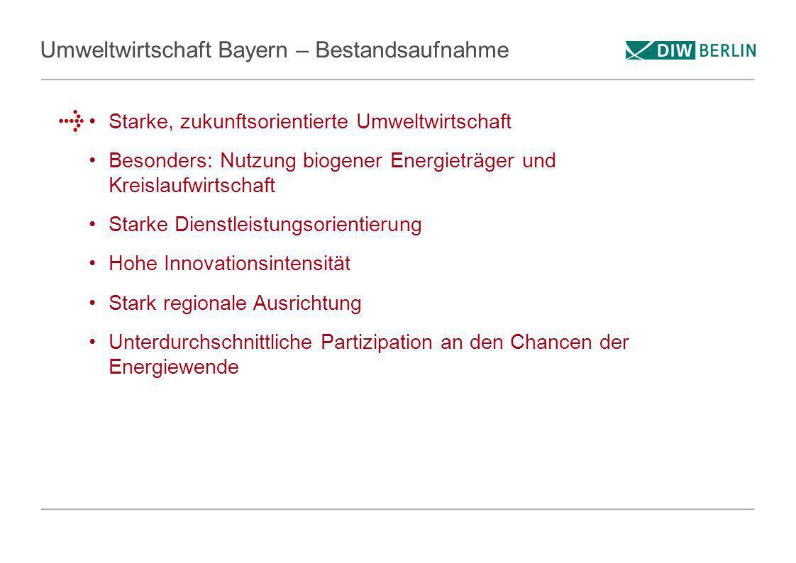 Umweltwirtschaft Bayern – Bestandsaufnahme Starke, zukunftsorientierte Umweltwirtschaft Besonders: Nutzung biogener Energieträger und Kreislaufwirtsch