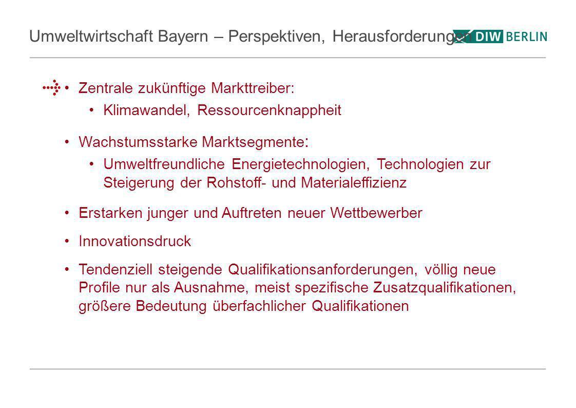 Umweltwirtschaft Bayern – Perspektiven, Herausforderungen Zentrale zukünftige Markttreiber: Klimawandel, Ressourcenknappheit Wachstumsstarke Marktsegm