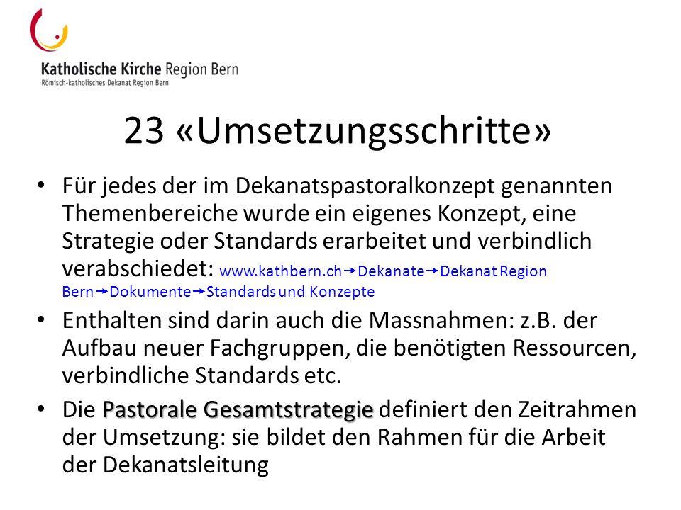 23 «Umsetzungsschritte» Für jedes der im Dekanatspastoralkonzept genannten Themenbereiche wurde ein eigenes Konzept, eine Strategie oder Standards era