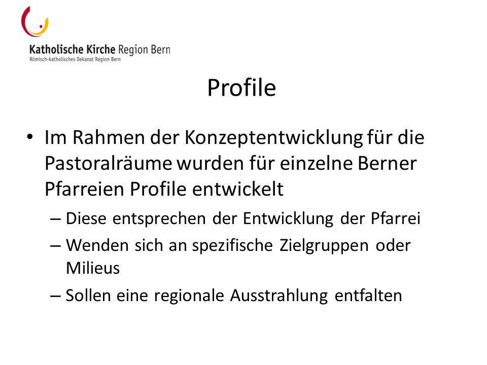 Profile Im Rahmen der Konzeptentwicklung für die Pastoralräume wurden für einzelne Berner Pfarreien Profile entwickelt – Diese entsprechen der Entwick