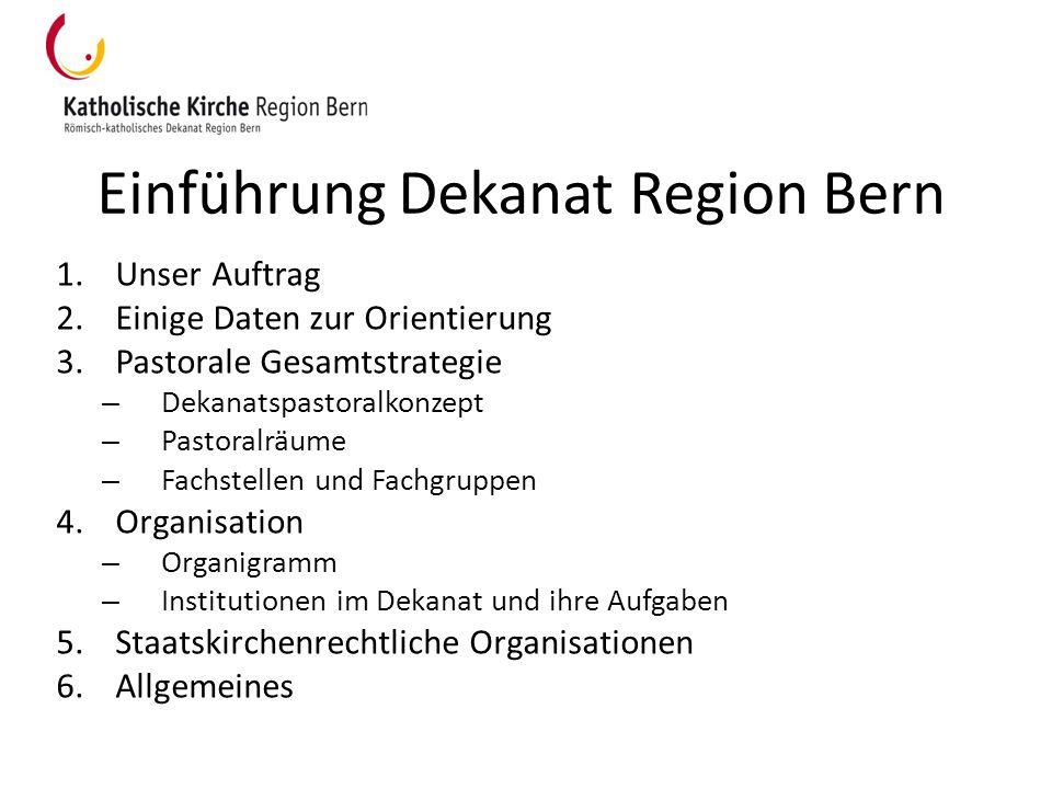 Einführung Dekanat Region Bern 1.Unser Auftrag 2.Einige Daten zur Orientierung 3.Pastorale Gesamtstrategie – Dekanatspastoralkonzept – Pastoralräume –