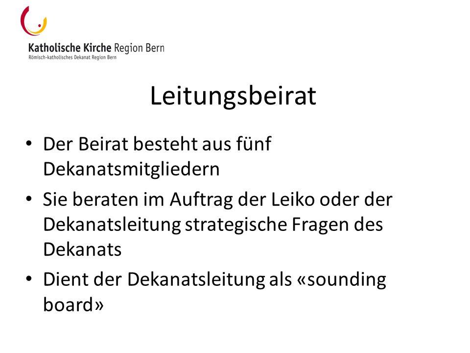 Leitungsbeirat Der Beirat besteht aus fünf Dekanatsmitgliedern Sie beraten im Auftrag der Leiko oder der Dekanatsleitung strategische Fragen des Dekan