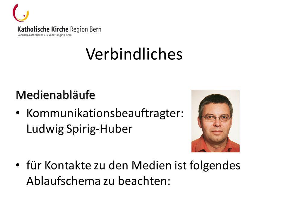 Verbindliches Medienabläufe Kommunikationsbeauftragter: Ludwig Spirig-Huber für Kontakte zu den Medien ist folgendes Ablaufschema zu beachten: