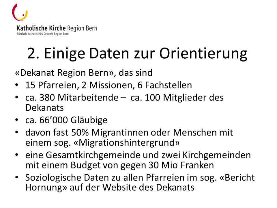 2. Einige Daten zur Orientierung «Dekanat Region Bern», das sind 15 Pfarreien, 2 Missionen, 6 Fachstellen ca. 380 Mitarbeitende – ca. 100 Mitglieder d