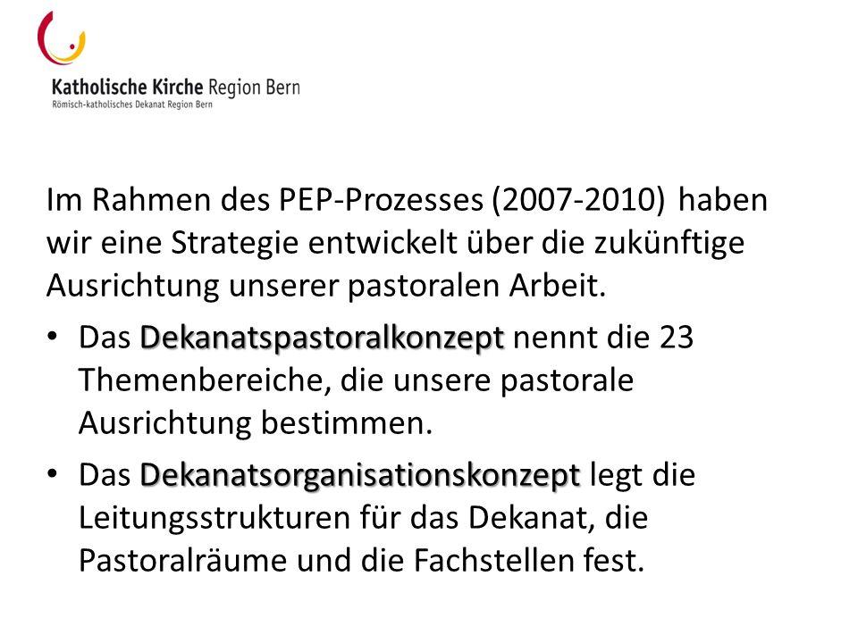 Das Dekanatspastoralkonzept bildet unter dem Motto «Kirche leben in Bern» das pastorale Leitbild des Dekanats Region Bern: http://www.kathbern.ch/fileadmin/user_upload/Pfarreien/Dekanate/Dekanat _Bern/Dokumente/Dekanatskonzepte.pdf http://www.kathbern.ch/fileadmin/user_upload/Pfarreien/Dekanate/Dekanat _Bern/Dokumente/Dekanatskonzepte.pdf umschreibt in 23 Themenbereichen die Ziele der Pastoral in der Region Bern bildet Ausgangspunkt und verbindlichen Rahmen für die Arbeit der Fachstellen, Fachgruppen, Pfarreien und Pastoralräume