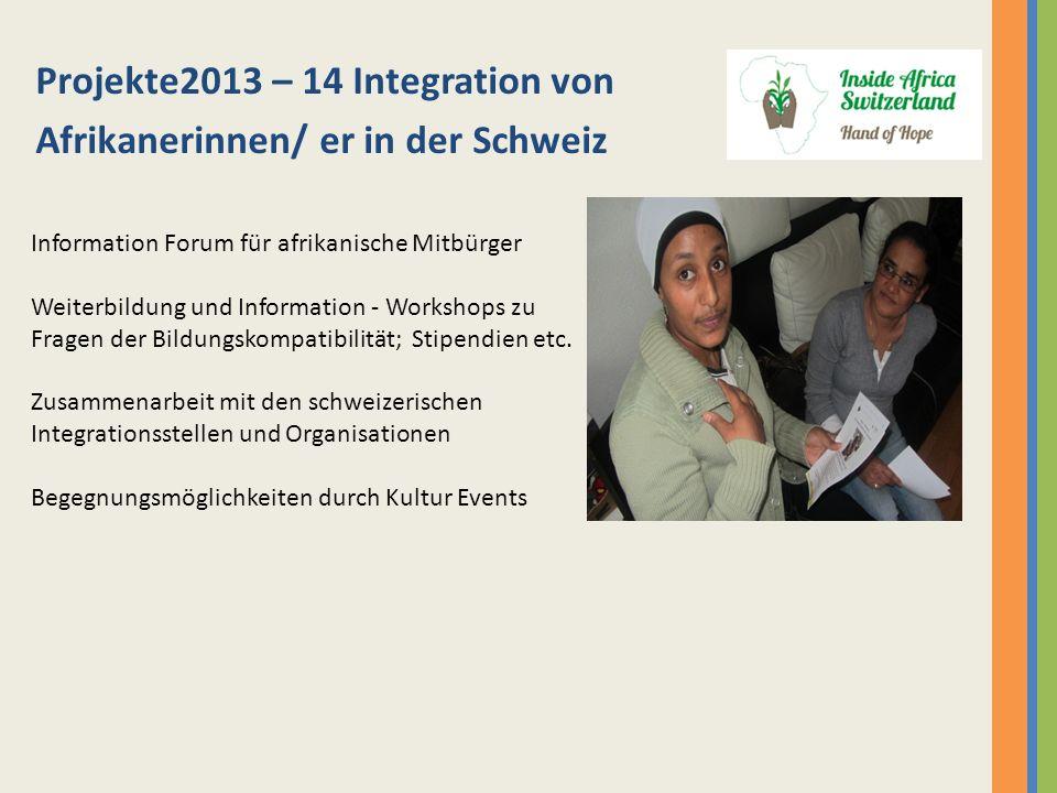 Projekte2013 – 14 Integration von Afrikanerinnen/ er in der Schweiz Information Forum für afrikanische Mitbürger Weiterbildung und Information - Works