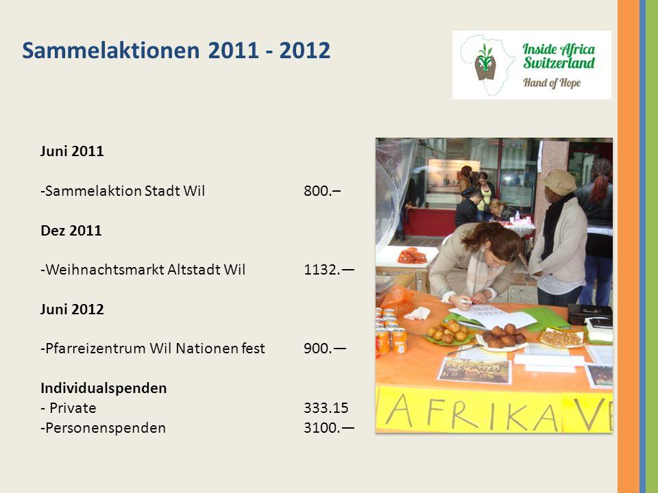 Sammelaktionen 2011 - 2012 Juni 2011 -Sammelaktion Stadt Wil 800.– Dez 2011 -Weihnachtsmarkt Altstadt Wil1132. Juni 2012 -Pfarreizentrum Wil Nationen