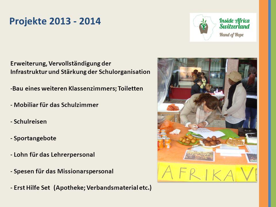 Projekte 2013 - 2014 Erweiterung, Vervollständigung der Infrastruktur und Stärkung der Schulorganisation -Bau eines weiteren Klassenzimmers; Toiletten