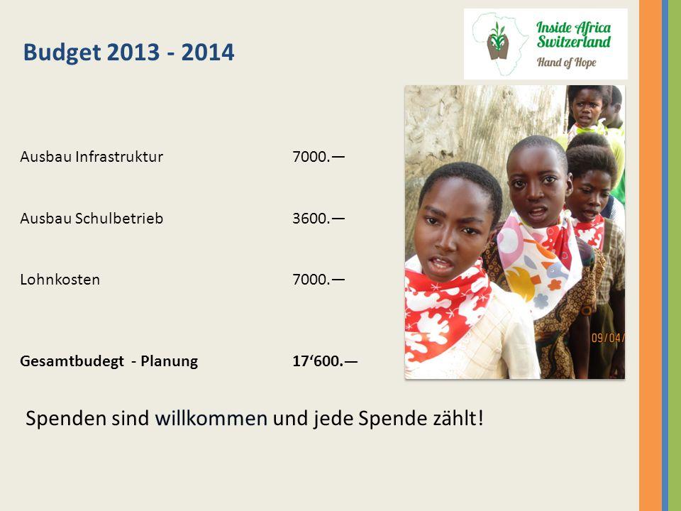 Budget 2013 - 2014 Ausbau Infrastruktur7000. Ausbau Schulbetrieb3600. Lohnkosten7000. Gesamtbudegt - Planung 17600.