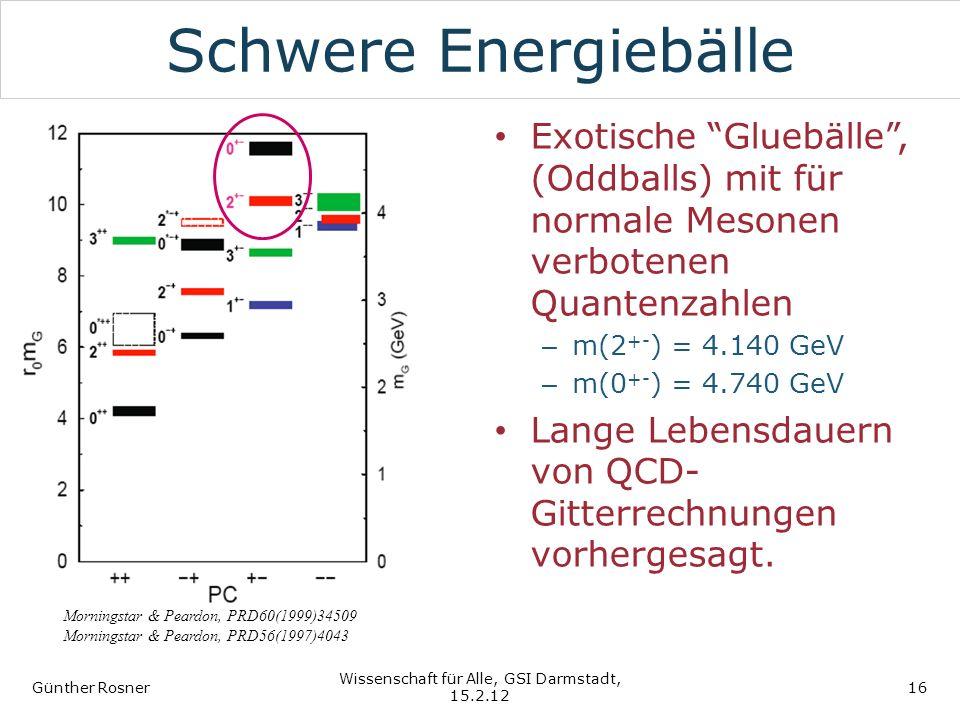 Schwere Energiebälle Exotische Gluebälle, (Oddballs) mit für normale Mesonen verbotenen Quantenzahlen – m(2 +- ) = 4.140 GeV – m(0 +- ) = 4.740 GeV La