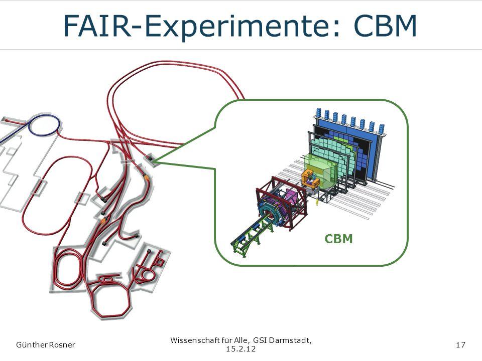 FAIR-Experimente: CBM Günther Rosner Wissenschaft für Alle, GSI Darmstadt, 15.2.12 17 CBM