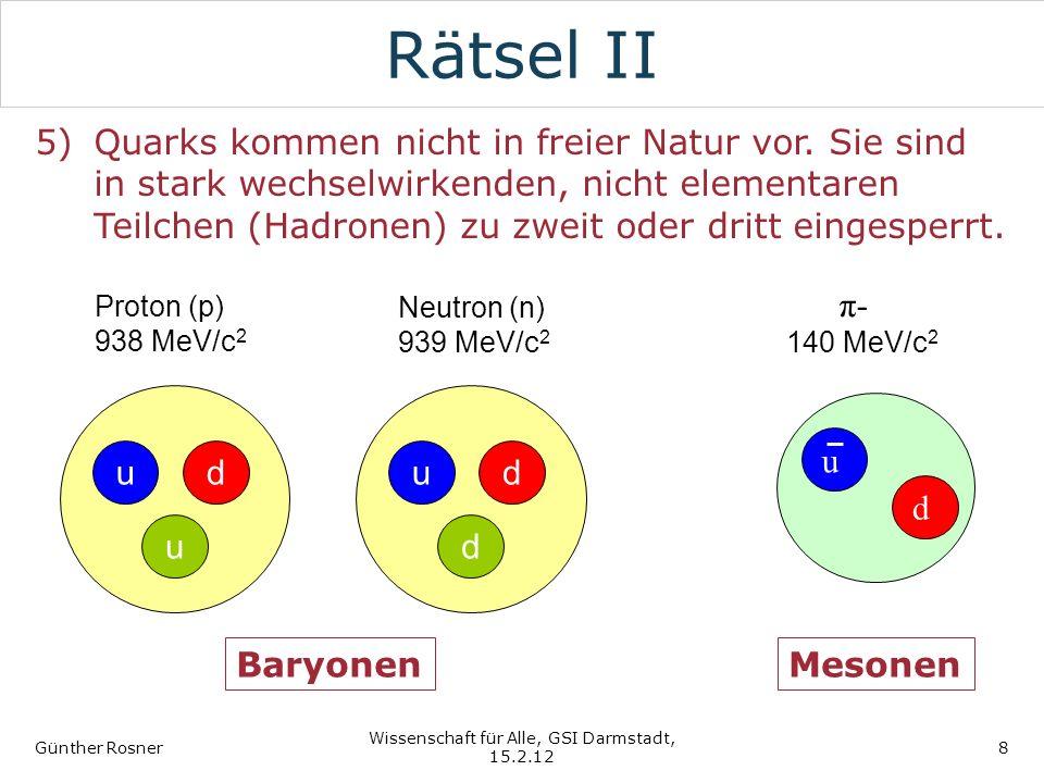 Rätsel II 5)Quarks kommen nicht in freier Natur vor. Sie sind in stark wechselwirkenden, nicht elementaren Teilchen (Hadronen) zu zweit oder dritt ein