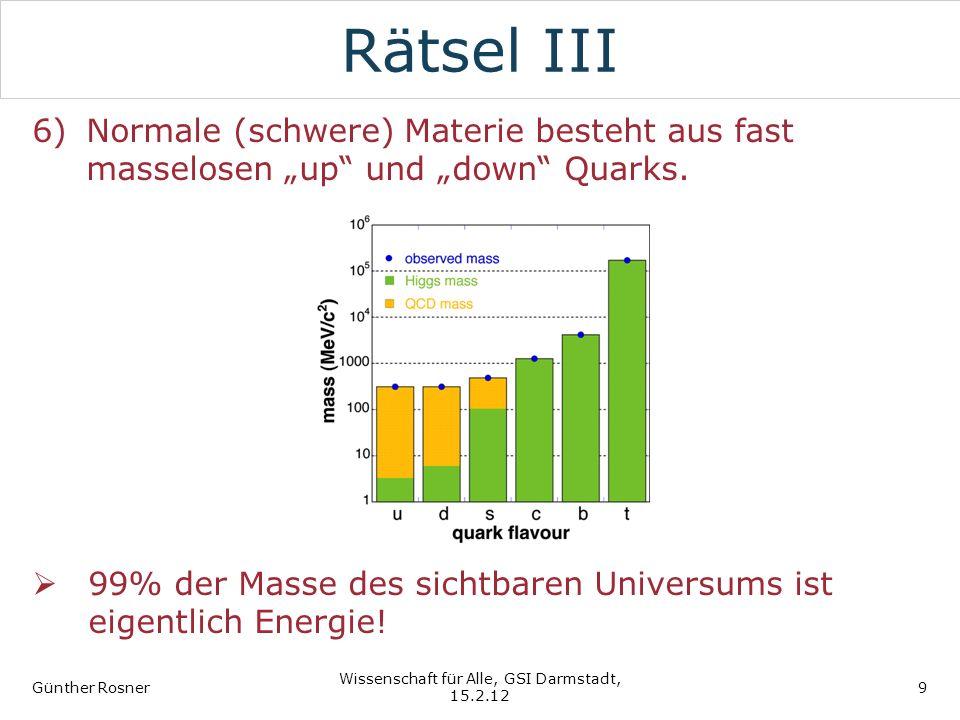 Rätsel III 6)Normale (schwere) Materie besteht aus fast masselosen up und down Quarks. 99% der Masse des sichtbaren Universums ist eigentlich Energie!