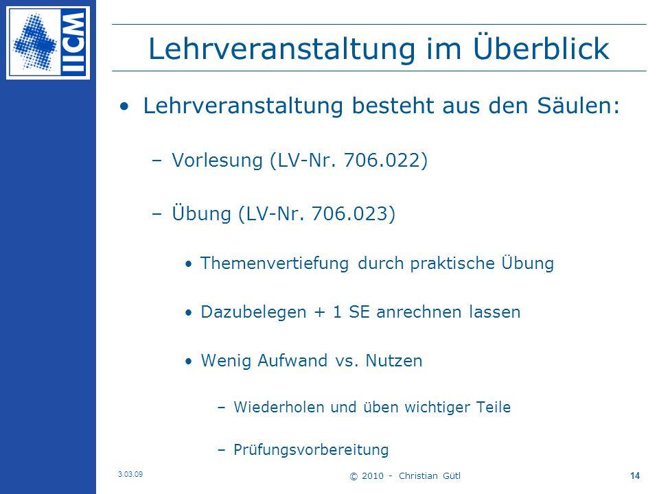 © 2010 - Christian Gütl 3.03.09 14 Lehrveranstaltung im Überblick Lehrveranstaltung besteht aus den Säulen: –Vorlesung (LV-Nr.